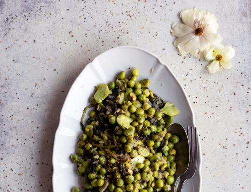 Piselli, fave e spinaci alla senape