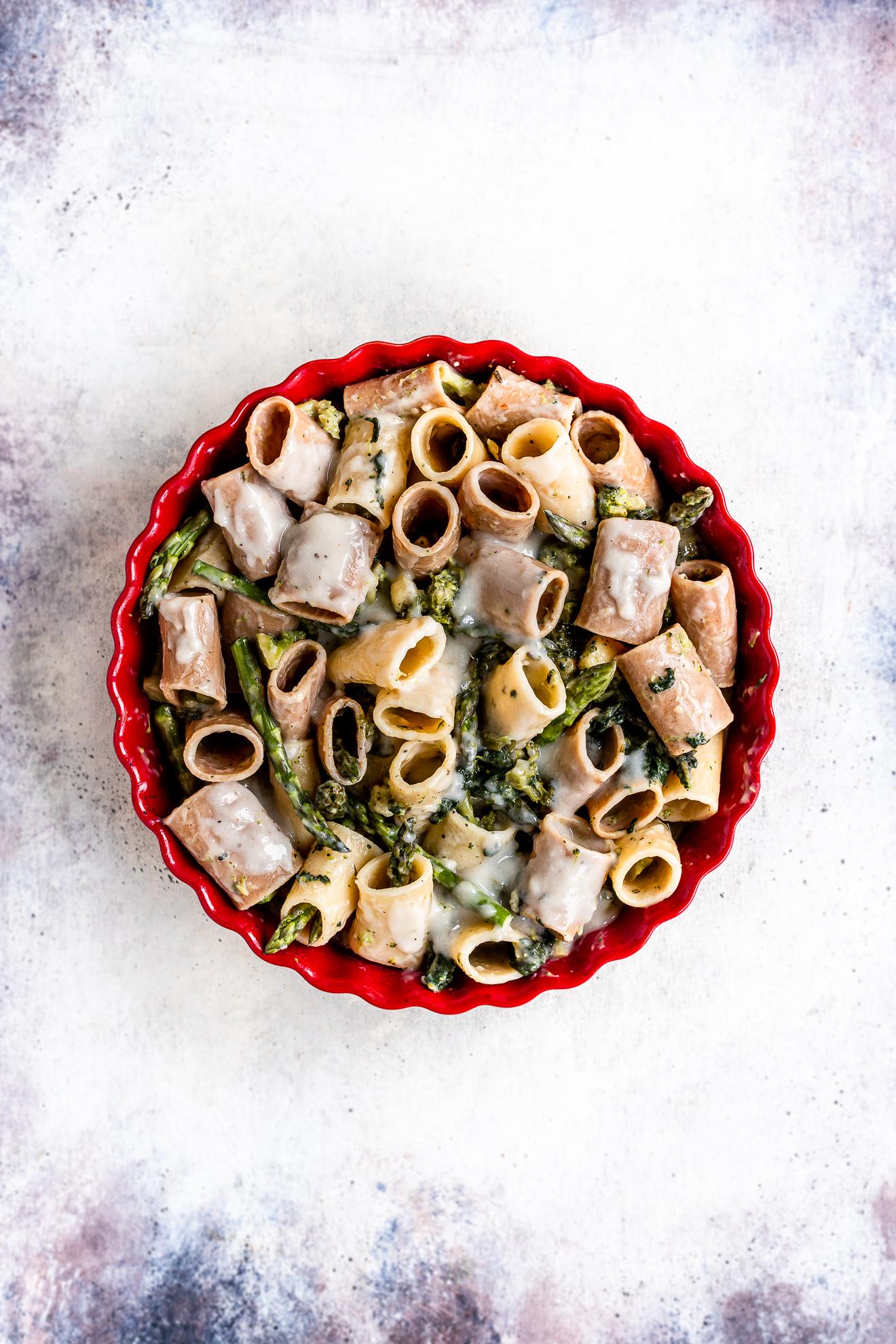 Ricetta di pasta al forno bianca asparagi e broccoli